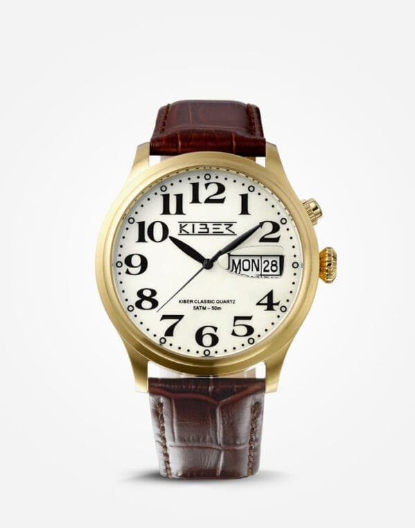 Kiber goud horloge grote cijfers voor slechtziende, de Kiber Iluma RVS Goud