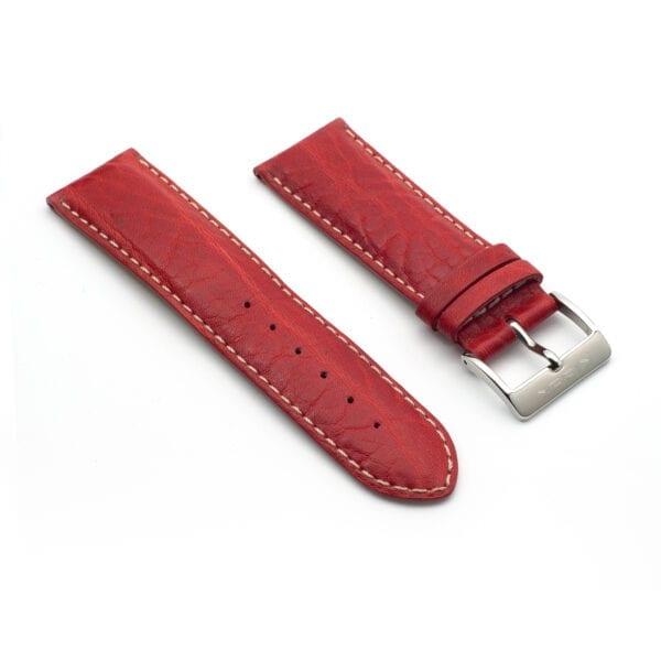 Horlogeband leder red toro 24mm side