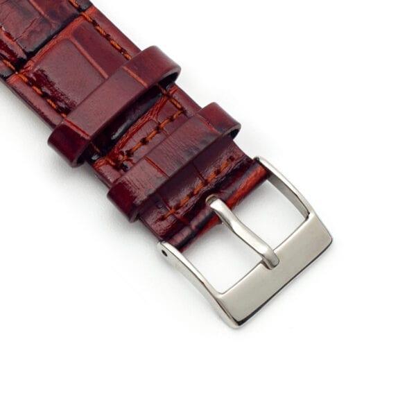 Horlogeband leder roodbruin Distinto 22mm detail