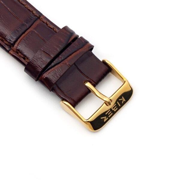 Horlogeband leder bruin Iluma 22mm detail