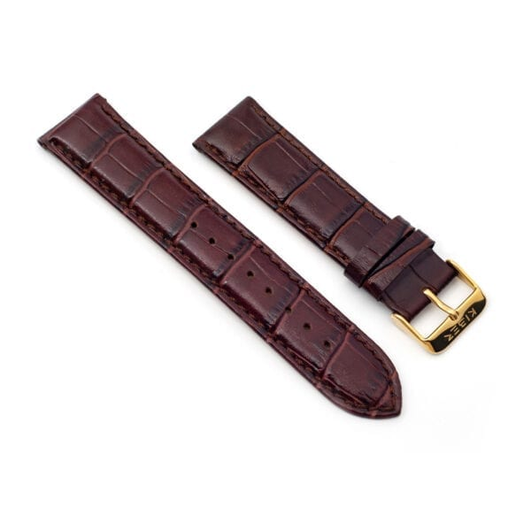 Horlogeband leder bruin Iluma 22mm side