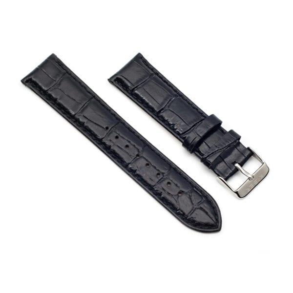 Horlogeband leder zwart Iluma 22mm side