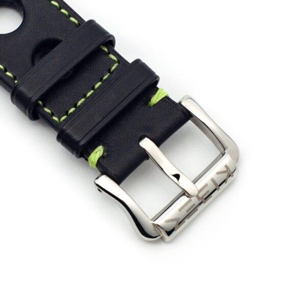 Horlogeband leder zwart/groen Racing 24mm detail