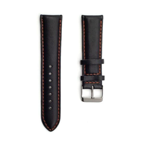 Horlogeband leder zwart Silverstone 22mm
