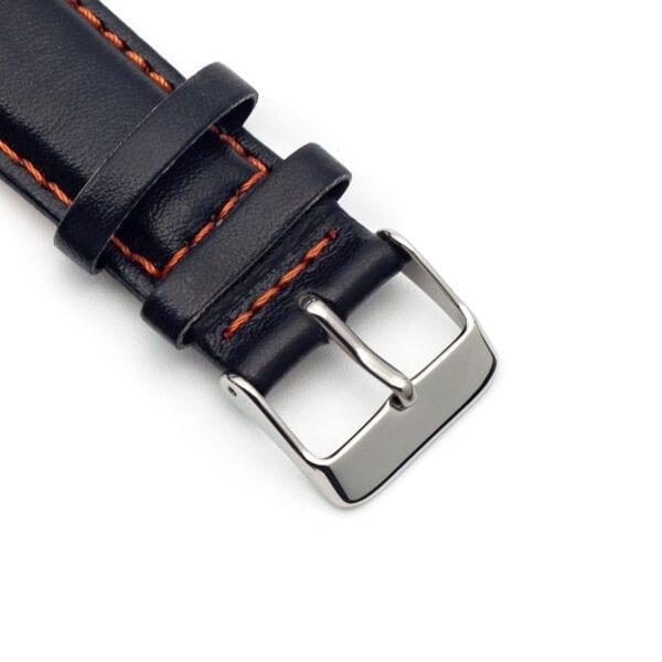 Horlogeband leder zwart Silverstone 22mm detail