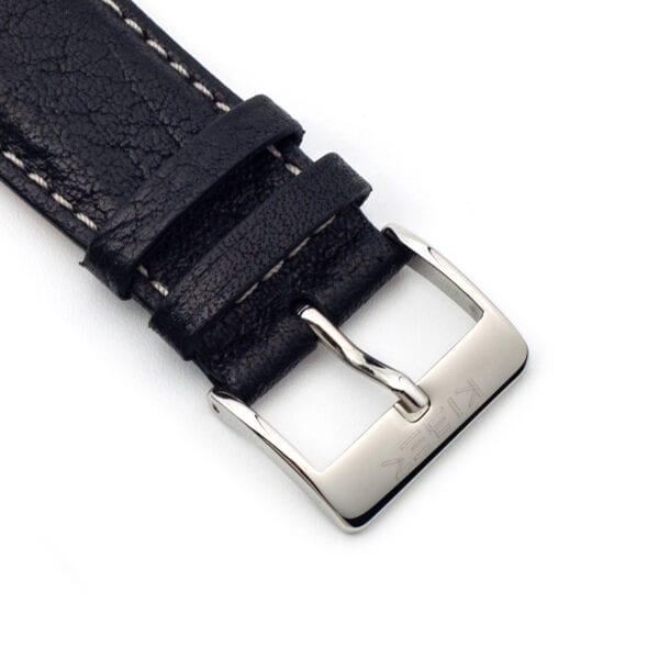 Horlogeband leder zwart toro 24mm detail