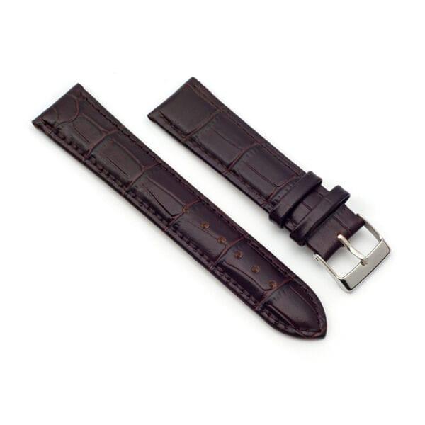 Horlogeband Croc leder bruin 20mm side